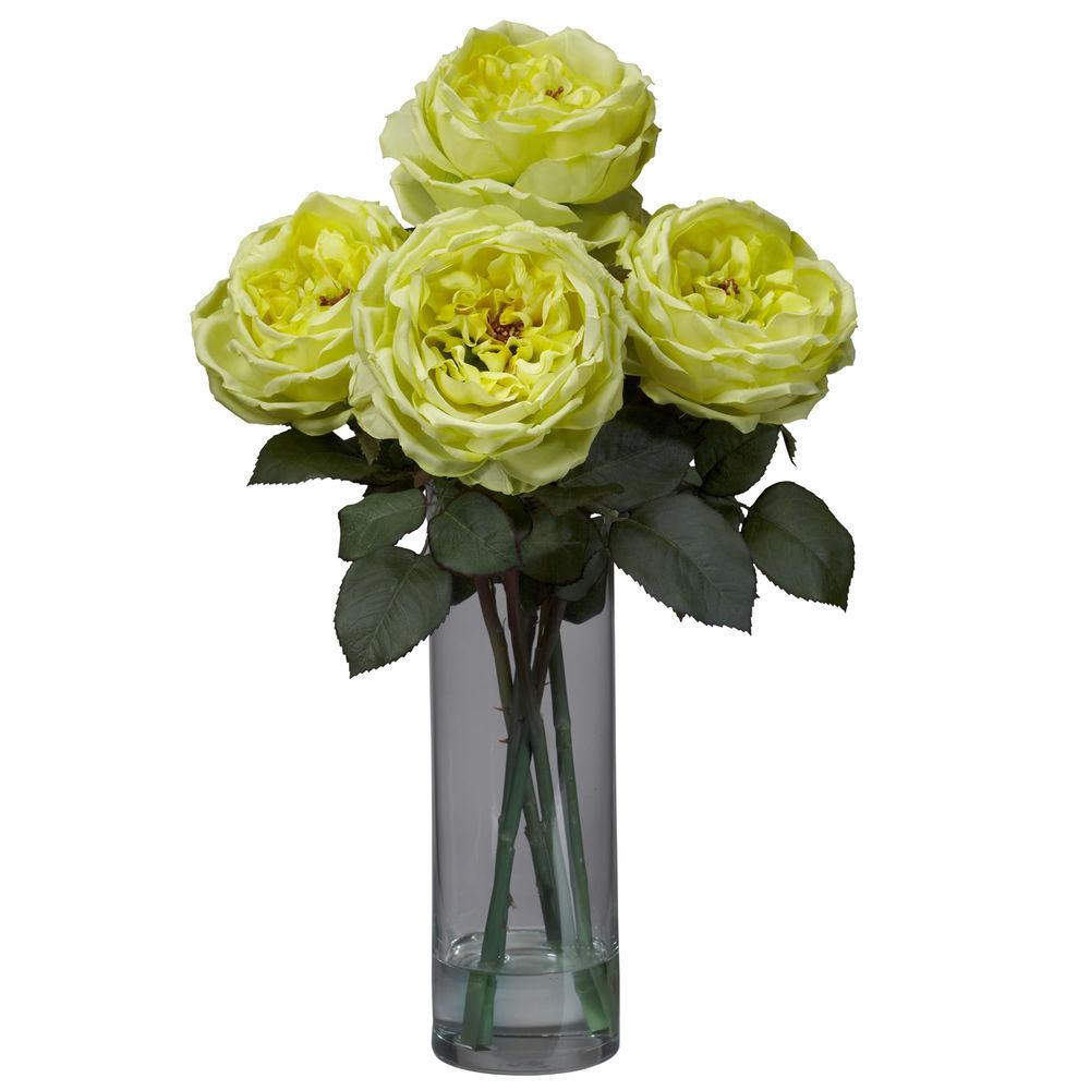 Nearly Natural Fancy Rose W Cylinder Vase Silk Flower Arrangement Yellow
