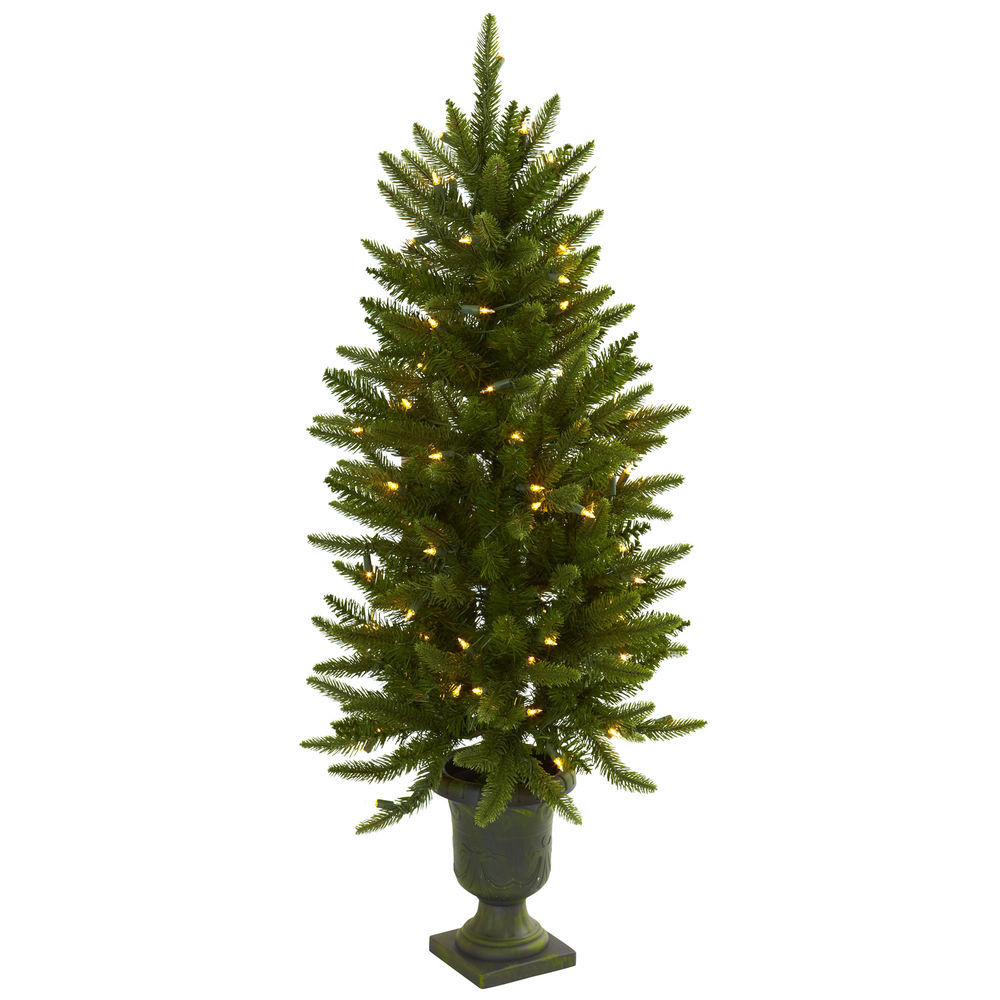 4ft Christmas Tree.Nearly Natural 4ft Christmas Tree W Urn 100 Clear Lights 242 Tips