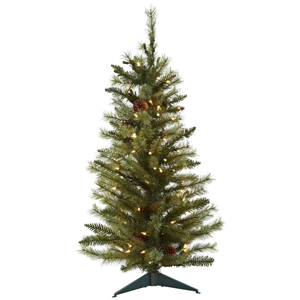 Nearly Natural 3ft Christmas Tree W Pine Cones 133 Tips 100 Lights