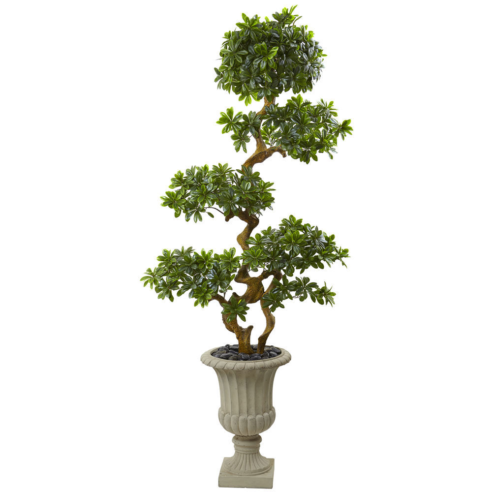 Nearly Natural 6ft Pittosporum Tree In Urn Uv Resistant Indoor Outdoor