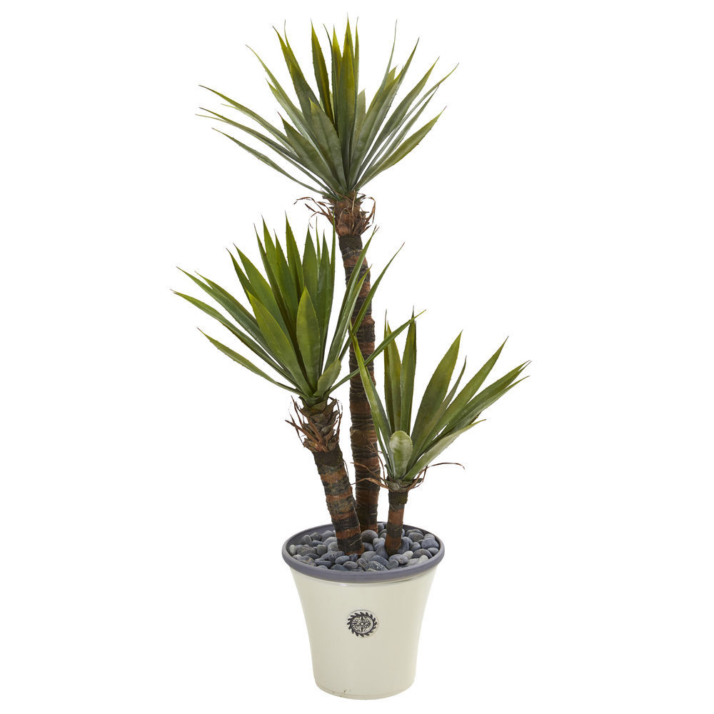 Nearly Natural 53 Yucca Artificial Tree In Decorative Metal Pail With Rope
