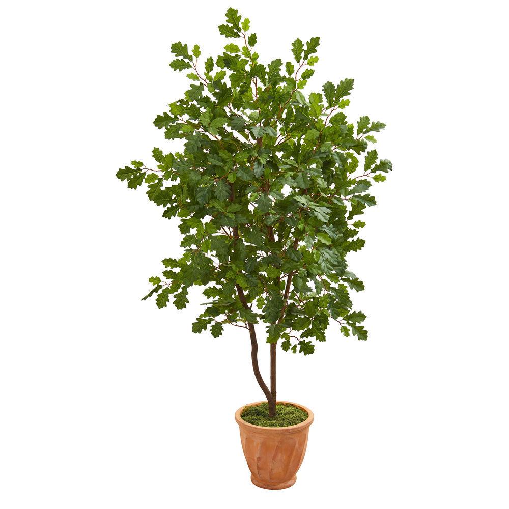 Nearly Natural 53 Oak Artificial Tree In Terra Cotta Planter