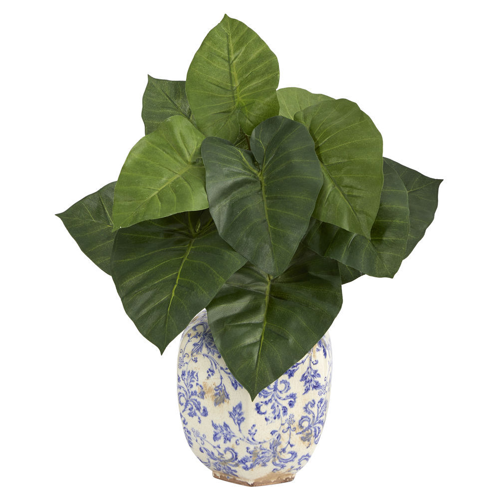 Nearly Natural 17 In Taro Artificial Plant In Blue And White Print Planter