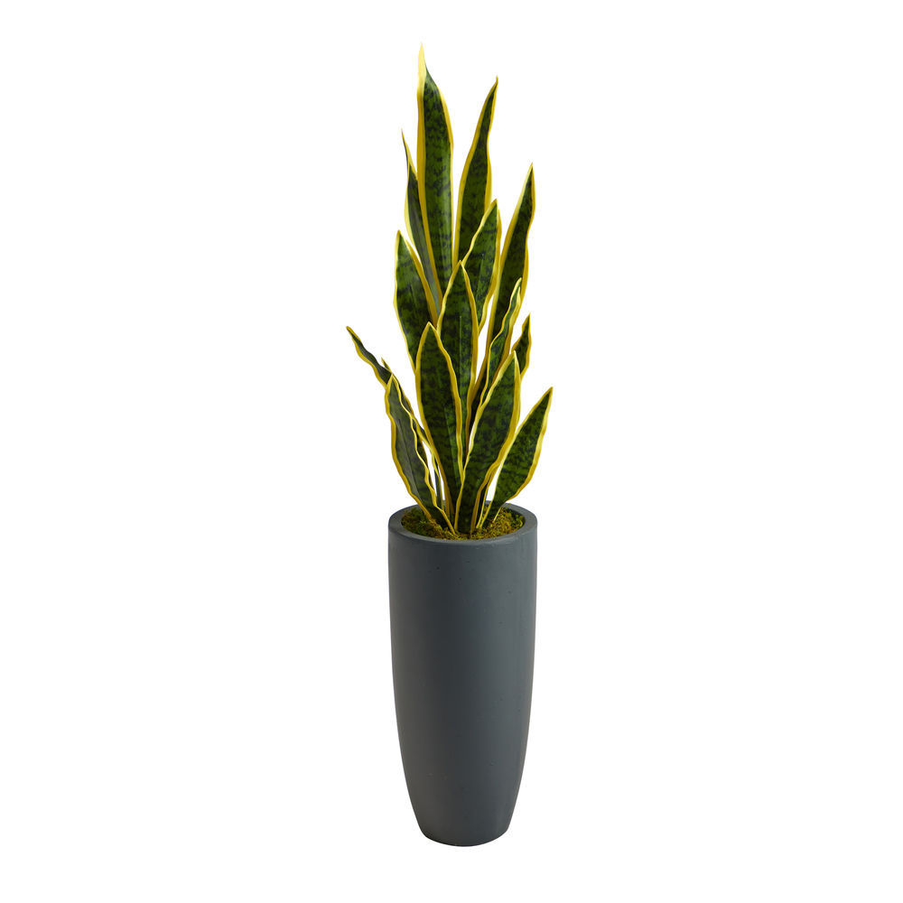 Nearly Natural 3 5 Ft Sansevieria Artificial Plant In Gray Planter
