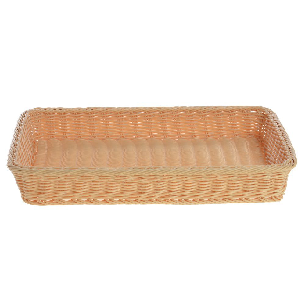 Rectangular Wicker Basket is Natural Colored