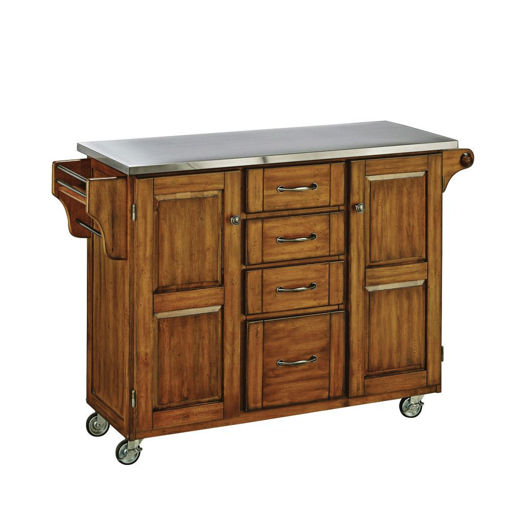 Large Cuisine Cart, Oak Base W/ Stainless Top