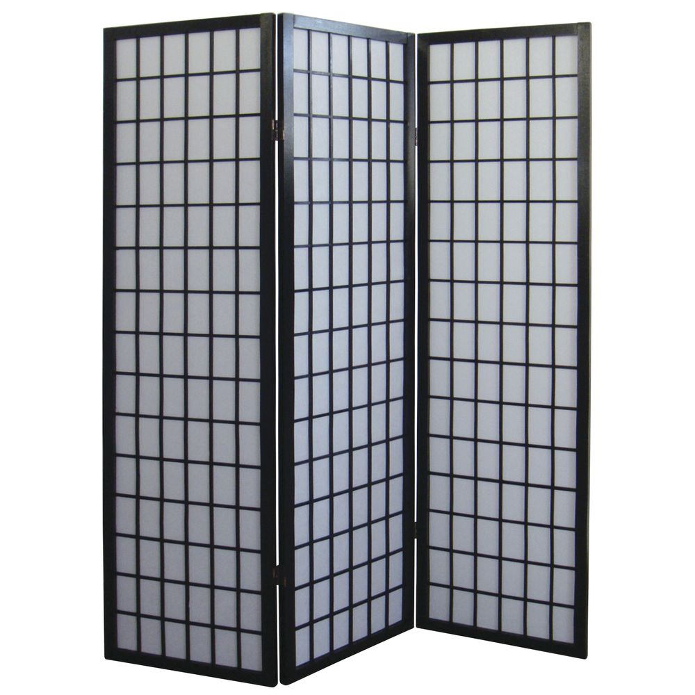 SCREEN, 3-PANEL, SOLID BLACK, WOOD FRAME