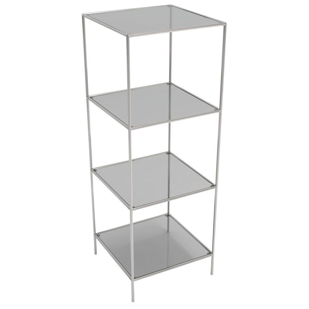 DISPLAY TOWER, 4FIXED SHELVES, SILVER