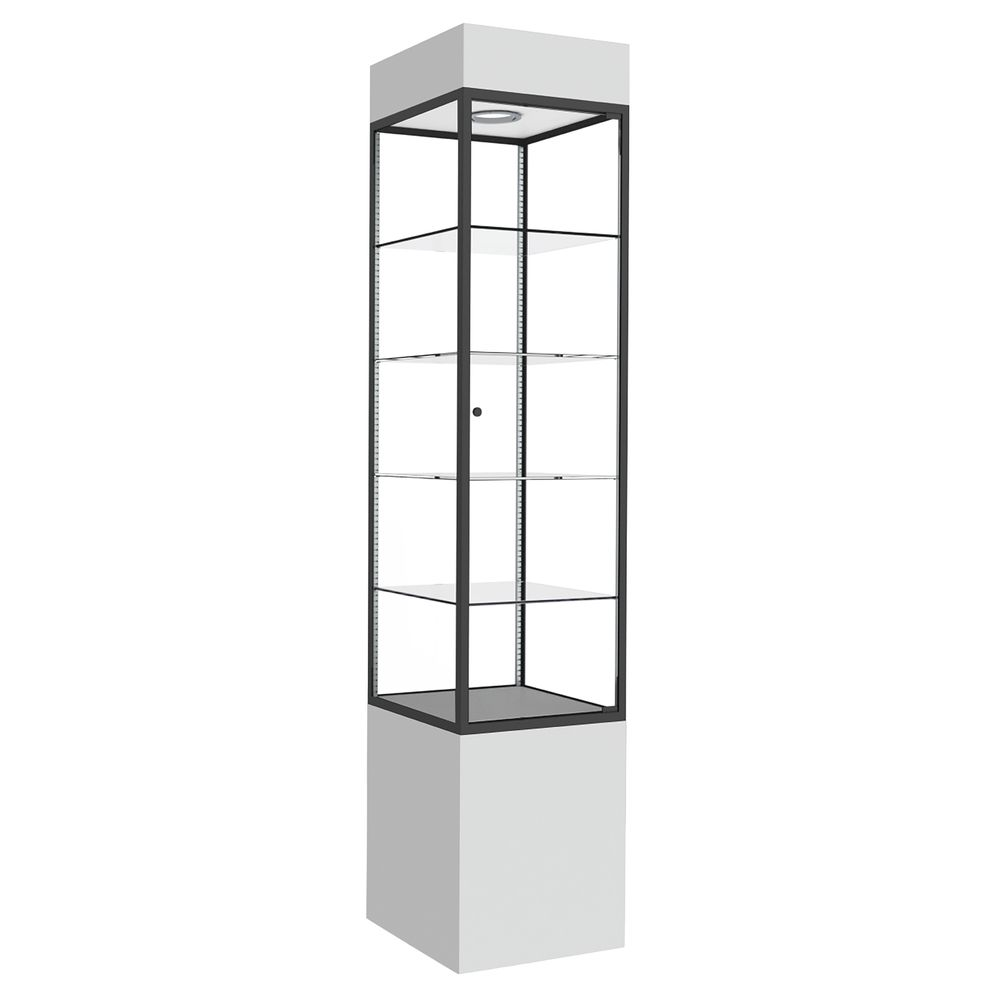 TOWER, DISPLAY, SQUARE, WHITE, BLACK FRAME
