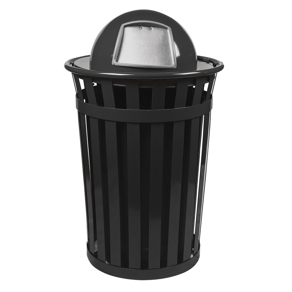 Outdoor Stainless Steel Trash Can with Dome Top