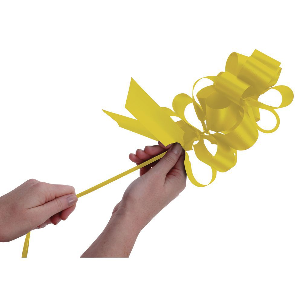 Yellow Flora-Satin Pull Bows