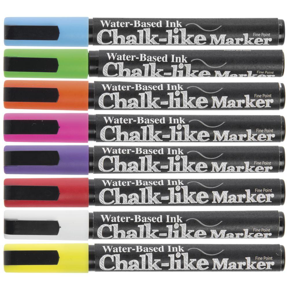 MARKER, CHALK-LIKE, 3MM, COLOR, SET 8