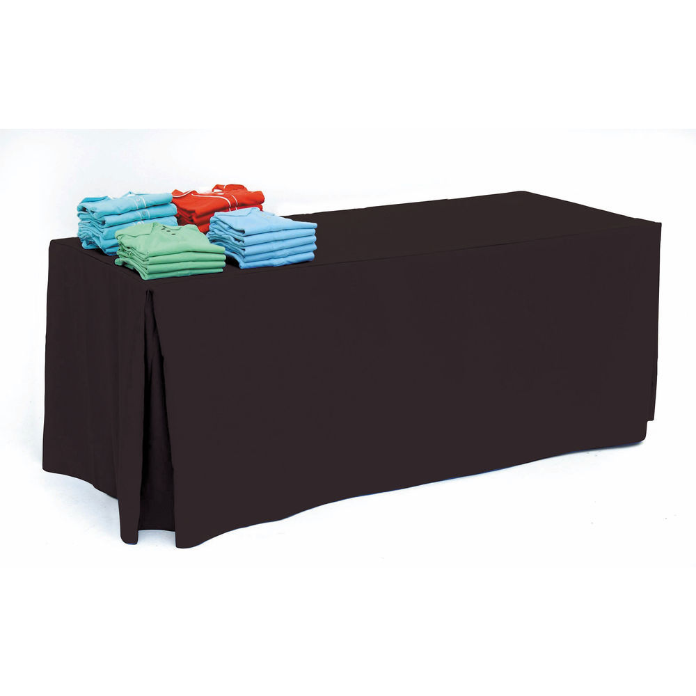 Black Pleated Tablecloth for 8ft Table