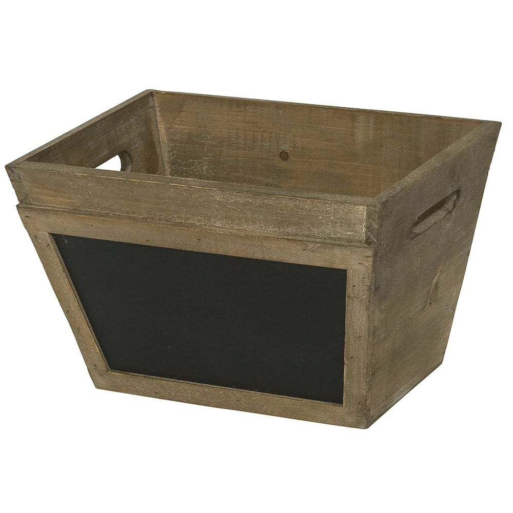 CRATE, WOOD, TAPERED, W/CHALKBOARD, SMALL