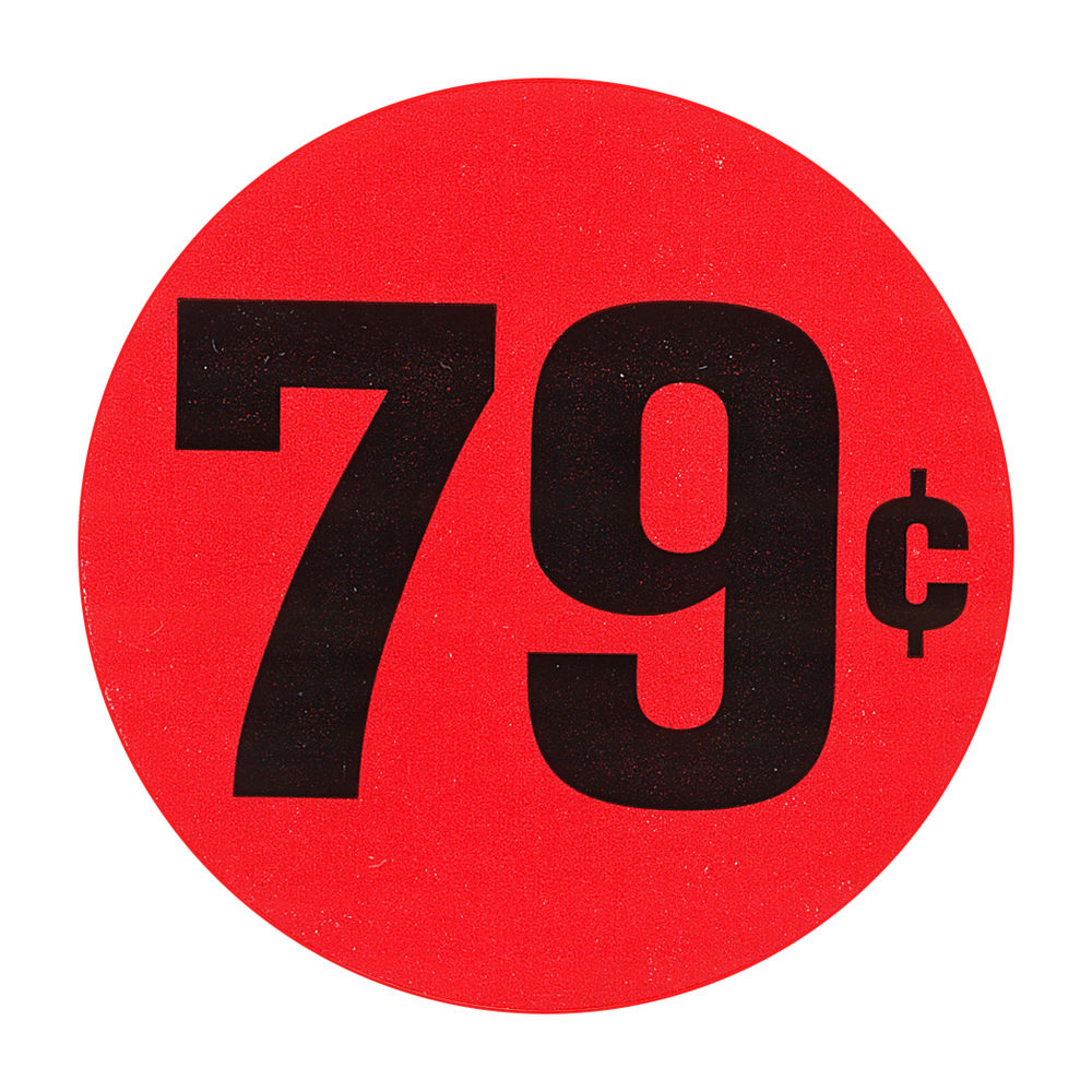 """LABEL, RED FLR, 79 CENTS, 1 1/2"""" DIA."""