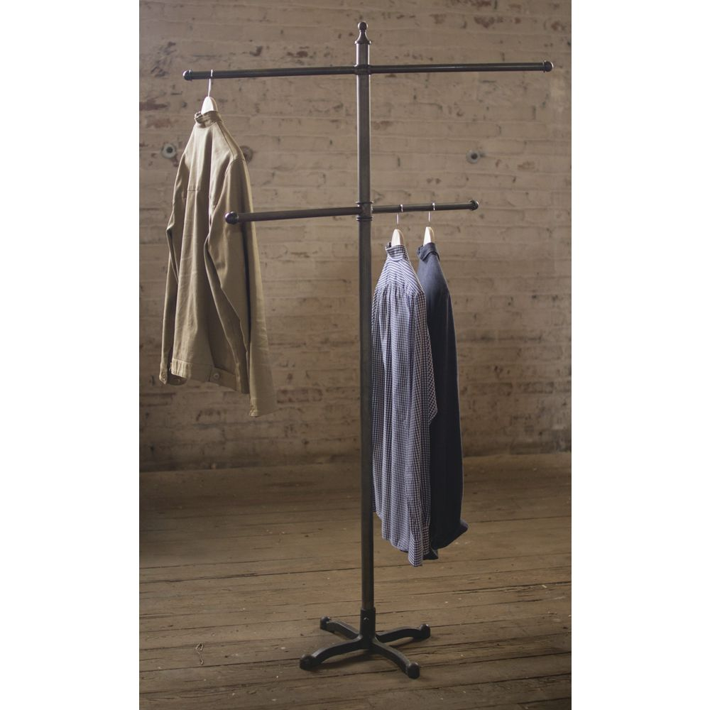 "GARMENT RACK, RAW METAL, W/2BARS, 63""H"