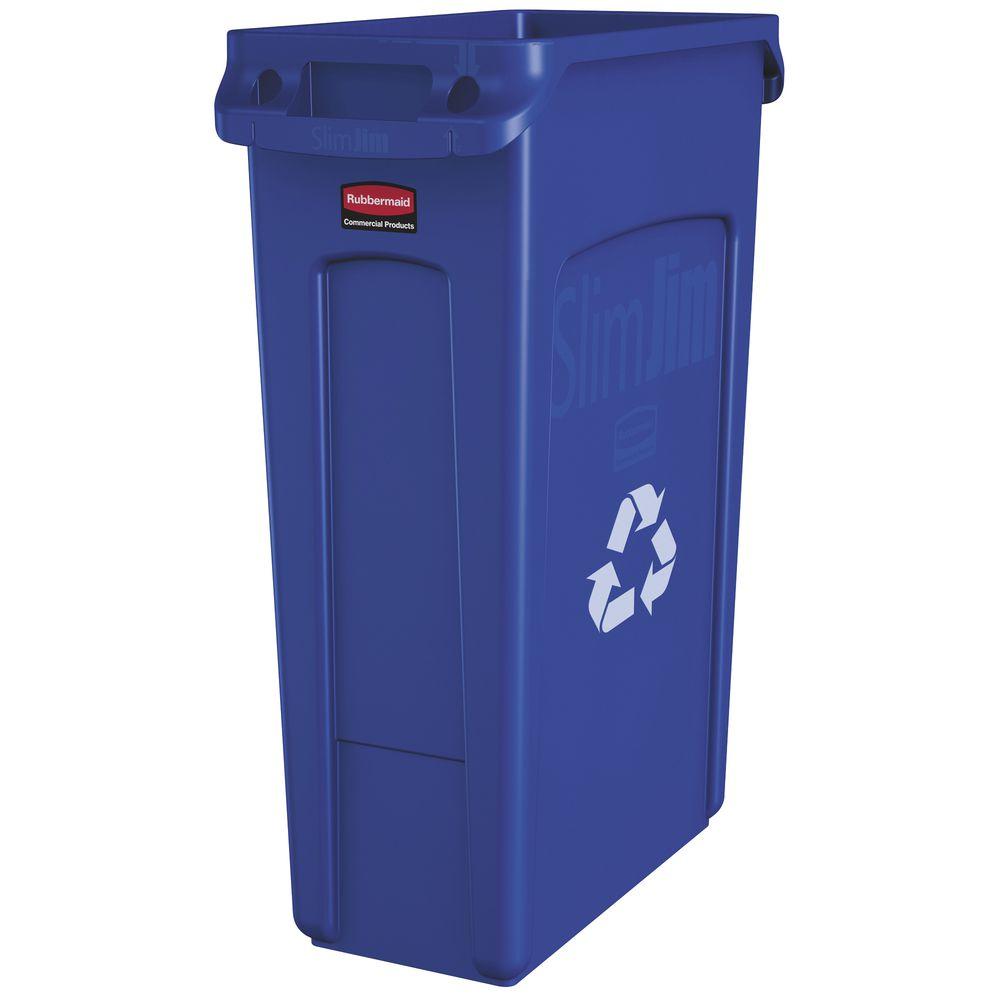 """Rubbermaid Slim Jim Tall Recycle Bin 23 Gal  22"""" L x 11"""" W x 30"""" H Rectangular Blue Plastic"""