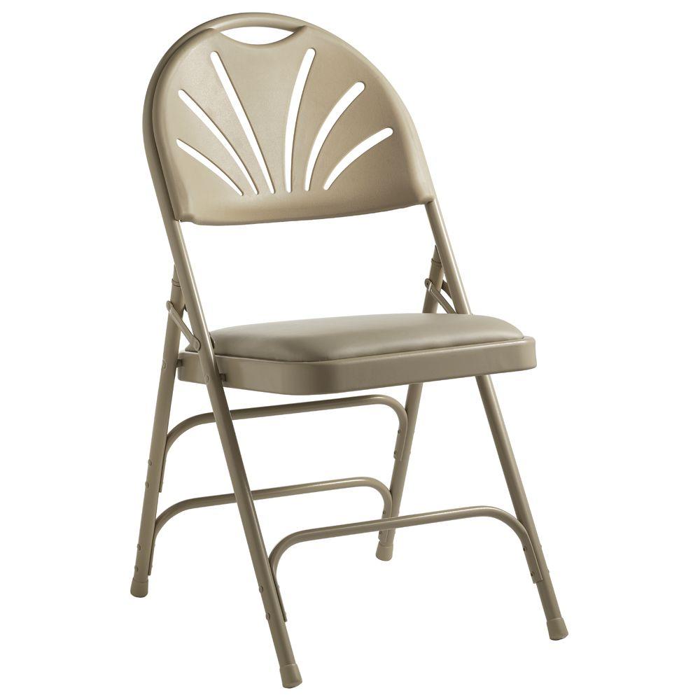Peachy Padded Steel Folding Chair Tan Theyellowbook Wood Chair Design Ideas Theyellowbookinfo