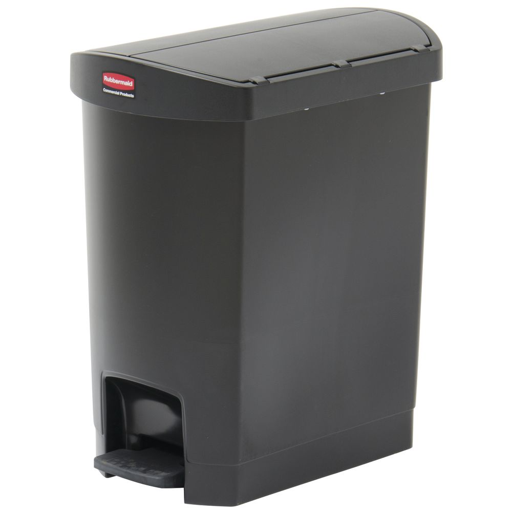 Rubbermaid® Slim Jim® Container 8 Gallon End Step-On Black Resin