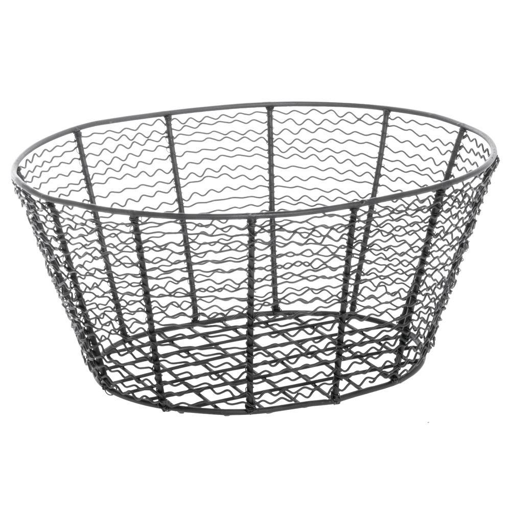 Expressly HUBERT® Corkscrew Oval Wire Basket Black 14-3/16L x 11W x 5-15/16H