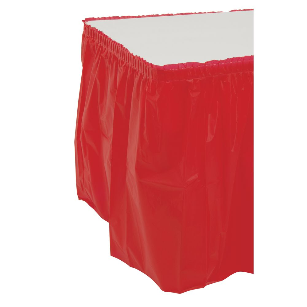 """Disposable Plastic Table Skirting Box Pleat Red 29""""H x 13'L"""