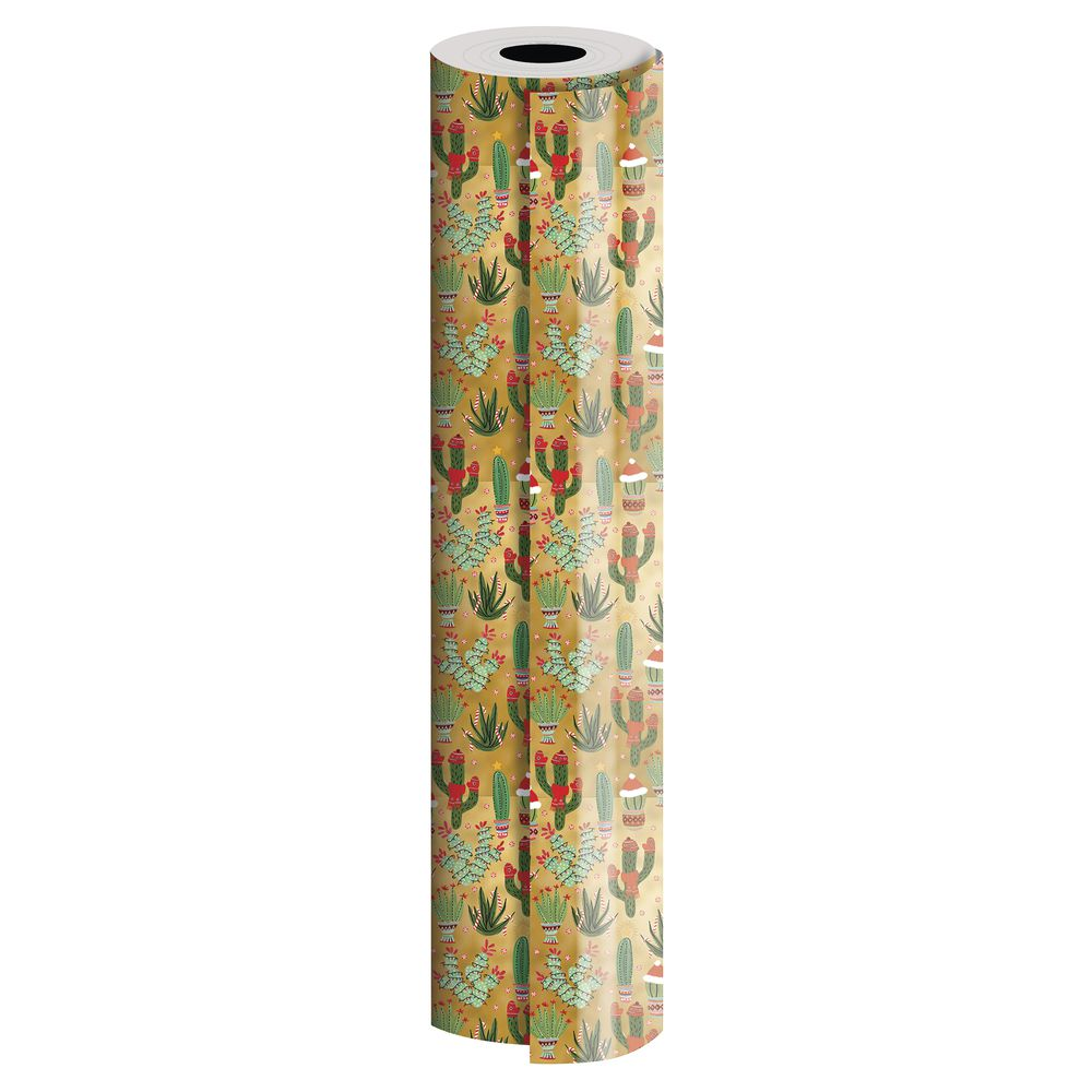 "GIFT WRAP, CHRISTMAS CACTUS, 1/2 ROLL, 30""W"