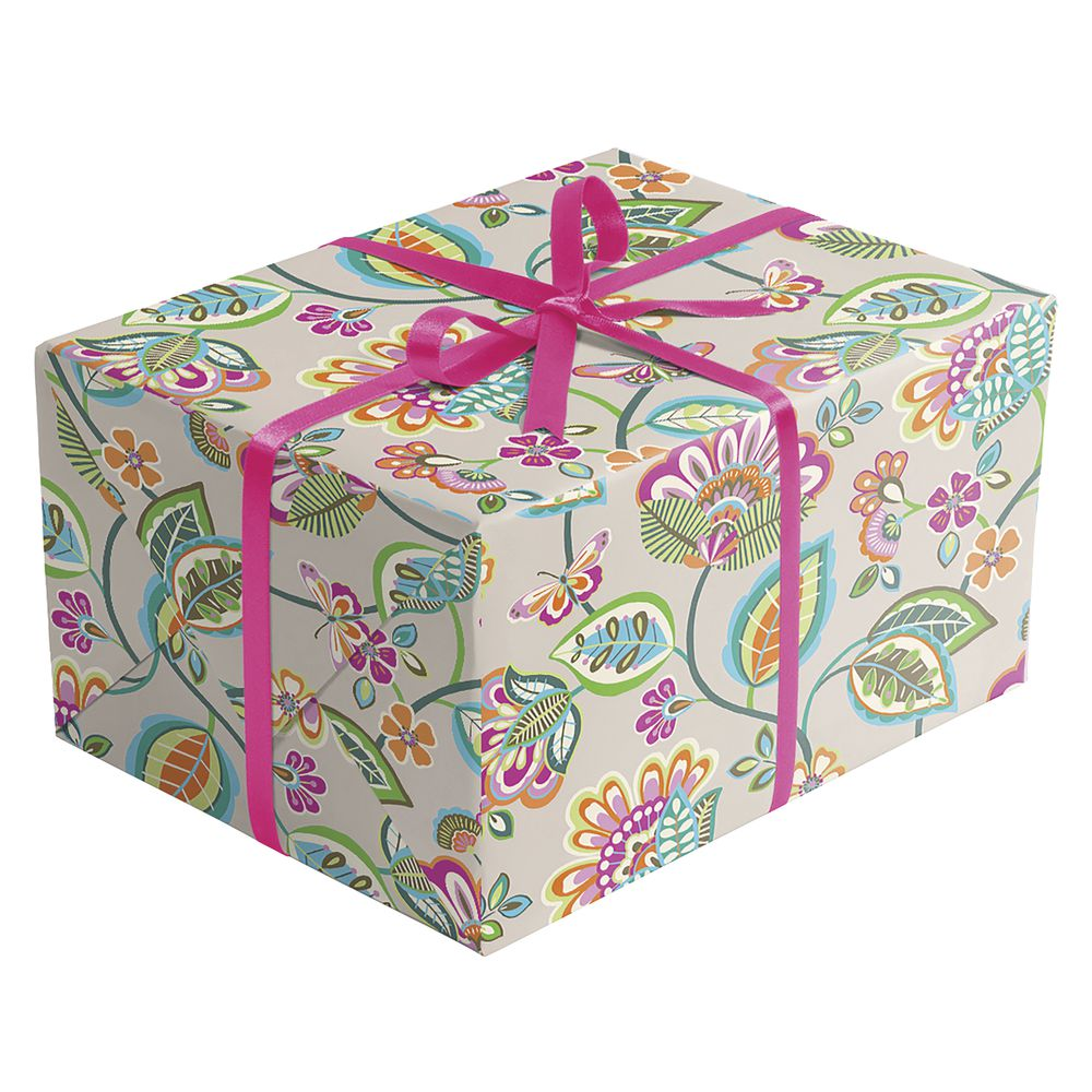 "GIFT WRAP, DECO FLORAL, HALF ROLL, 30""W"
