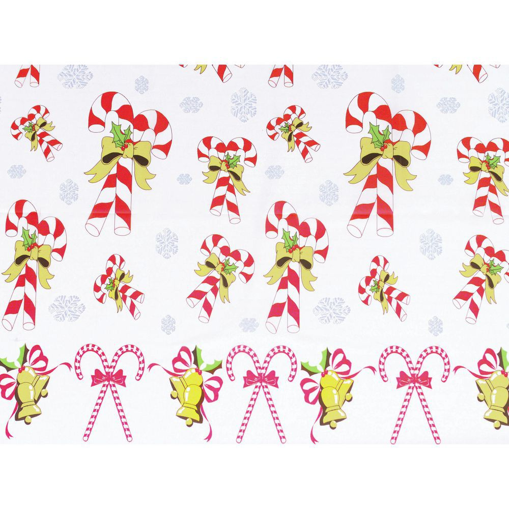 """TABLECOVER, CANDY CANES, 54""""X108"""", PLASTIC"""