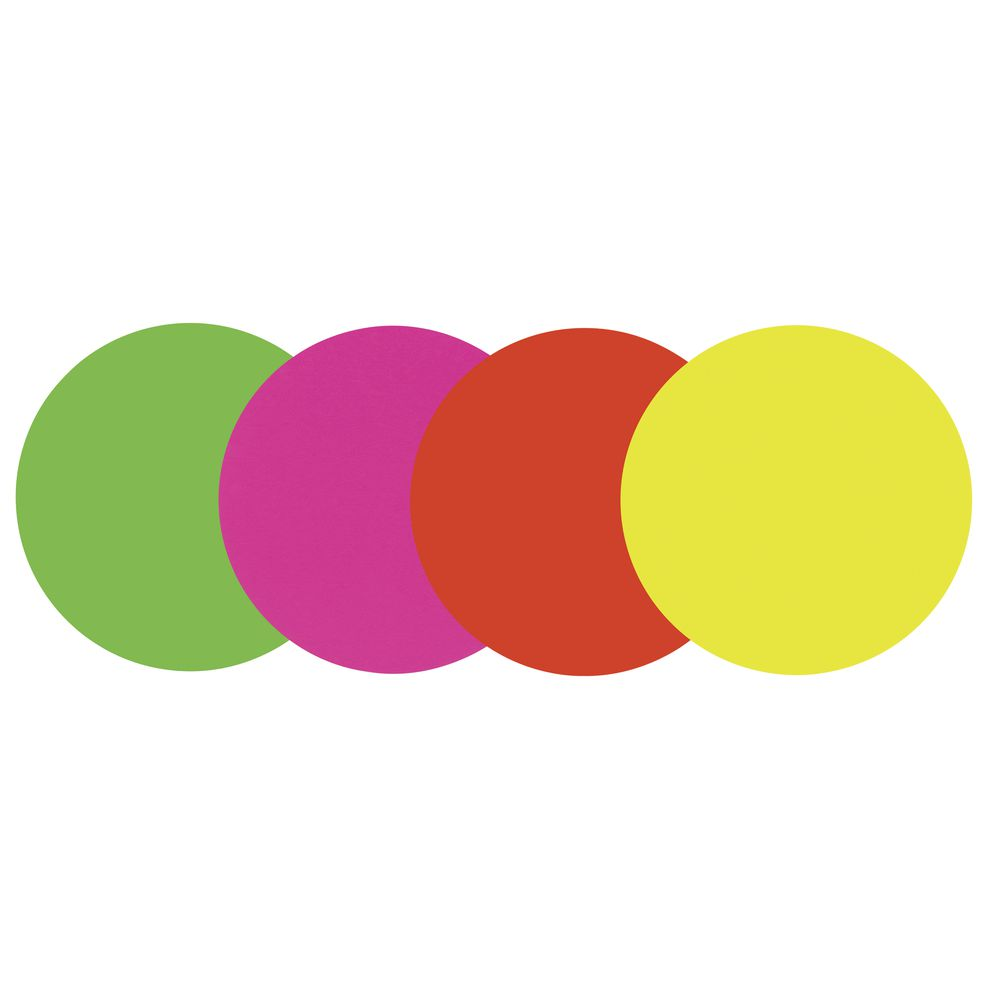 CARD, WRITE-ON, NEON, ROUND, ASST COLOR, 5.25