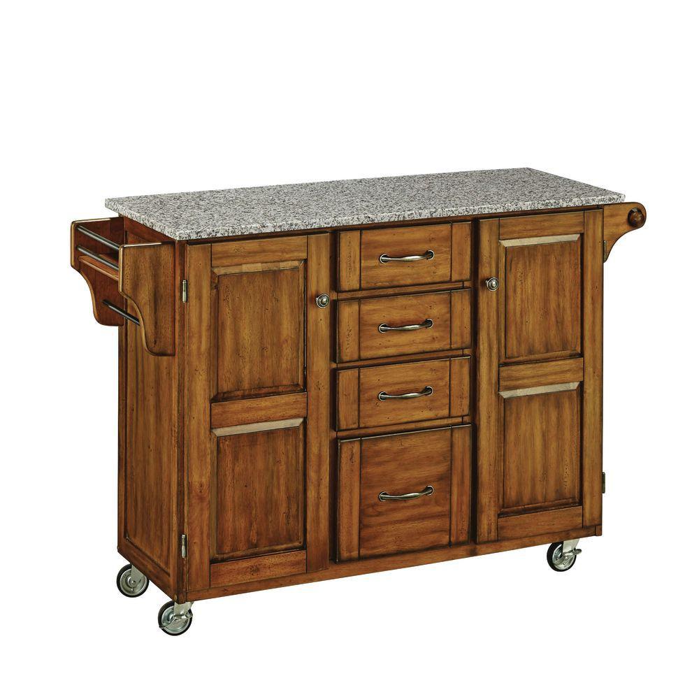 Large Cuisine Cart, Oak Base w/ Granite Top