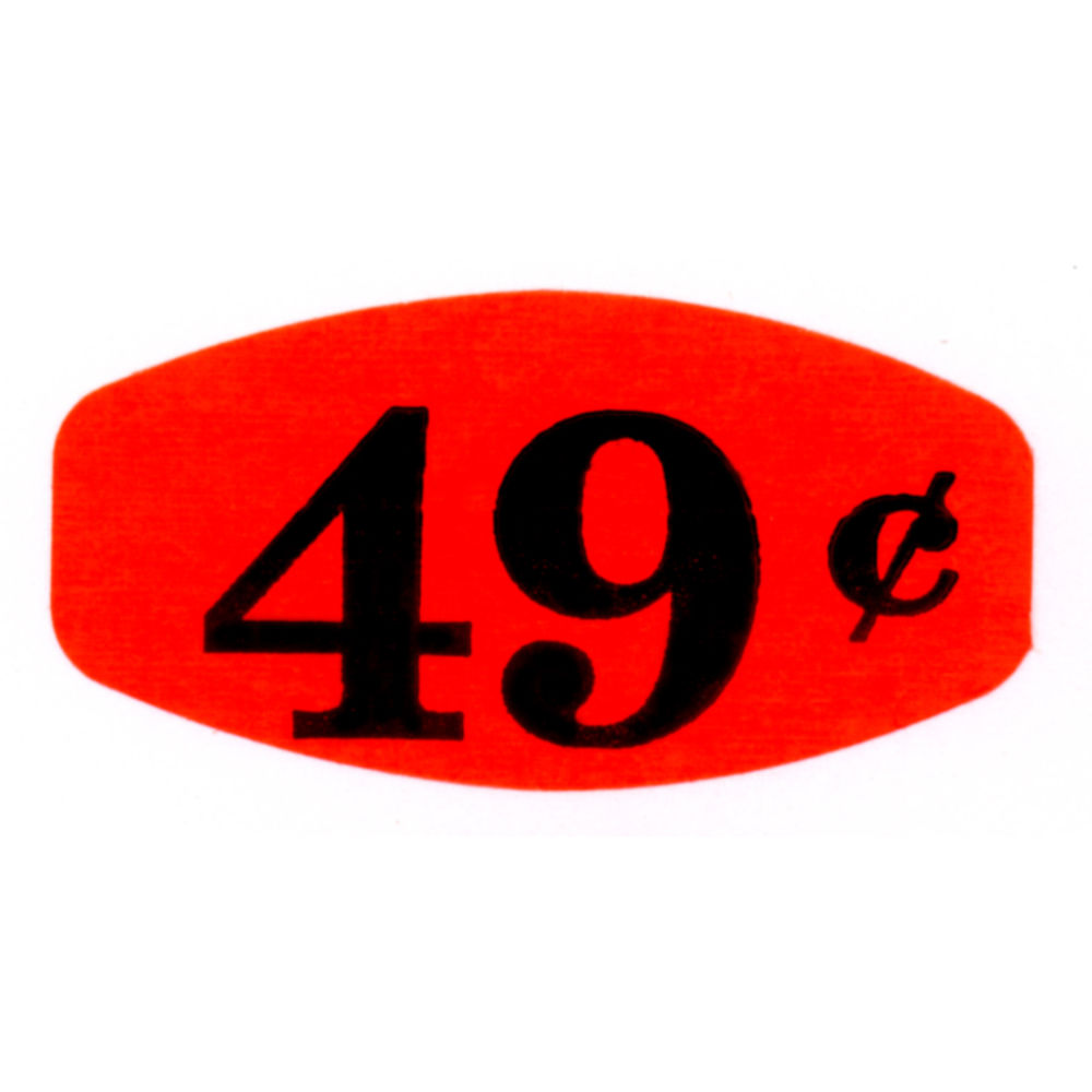 """49¢ Price Point Grabber Grocery Store Labels 1 3/8""""L x 7/8""""H Red With Black Print"""