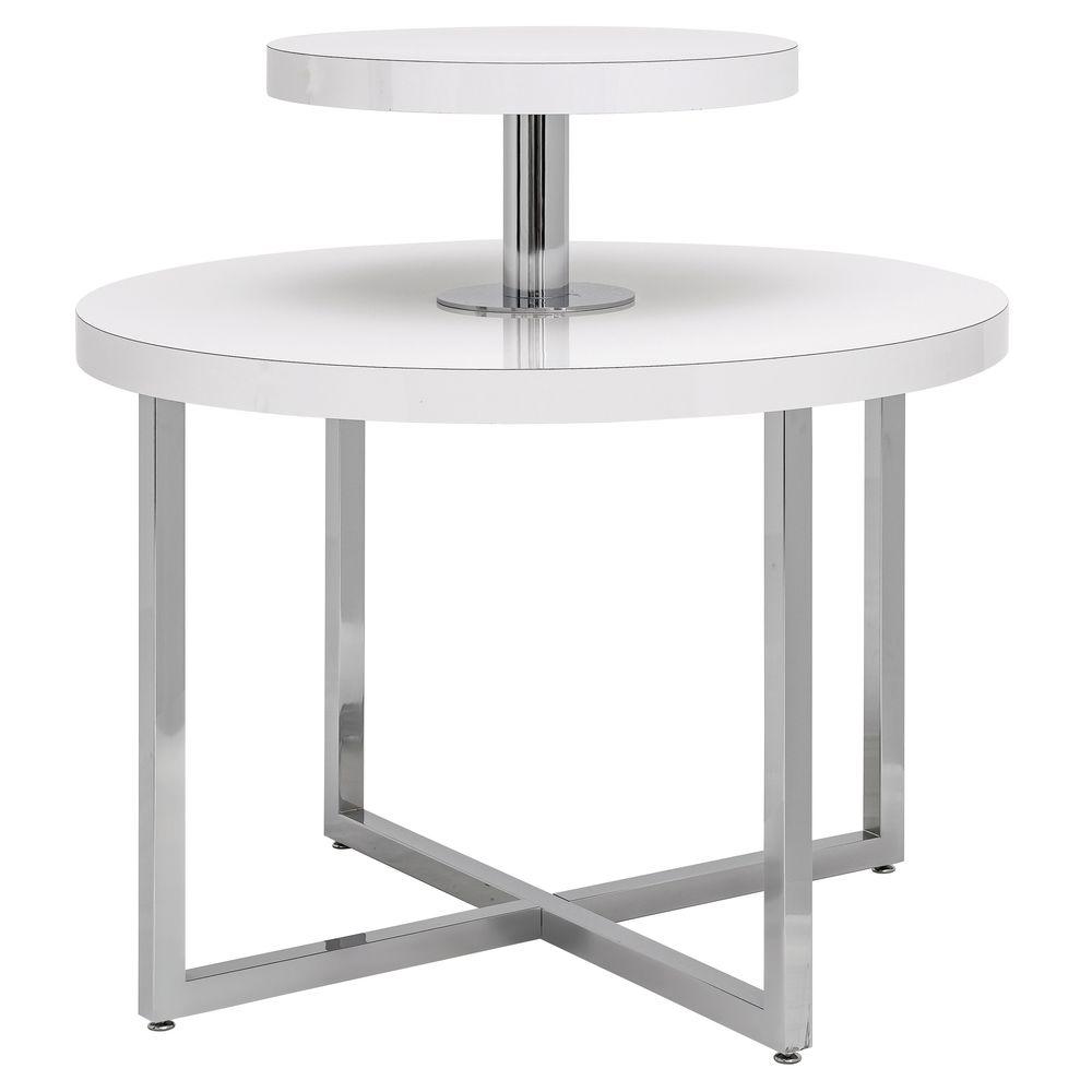 "TABLE, GLOSS WHITE, CHROME, 42""DIA"