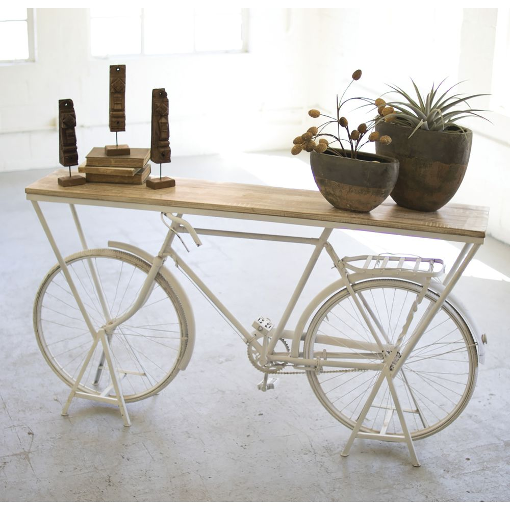 "TABLE, BICYCLE FRAME, WOOD TOP, 39""H"