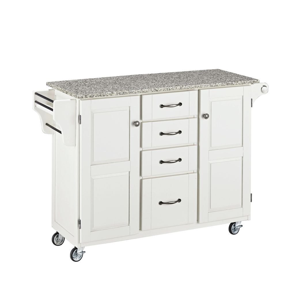 Large Portable Kitchen Island White Base W Speckled