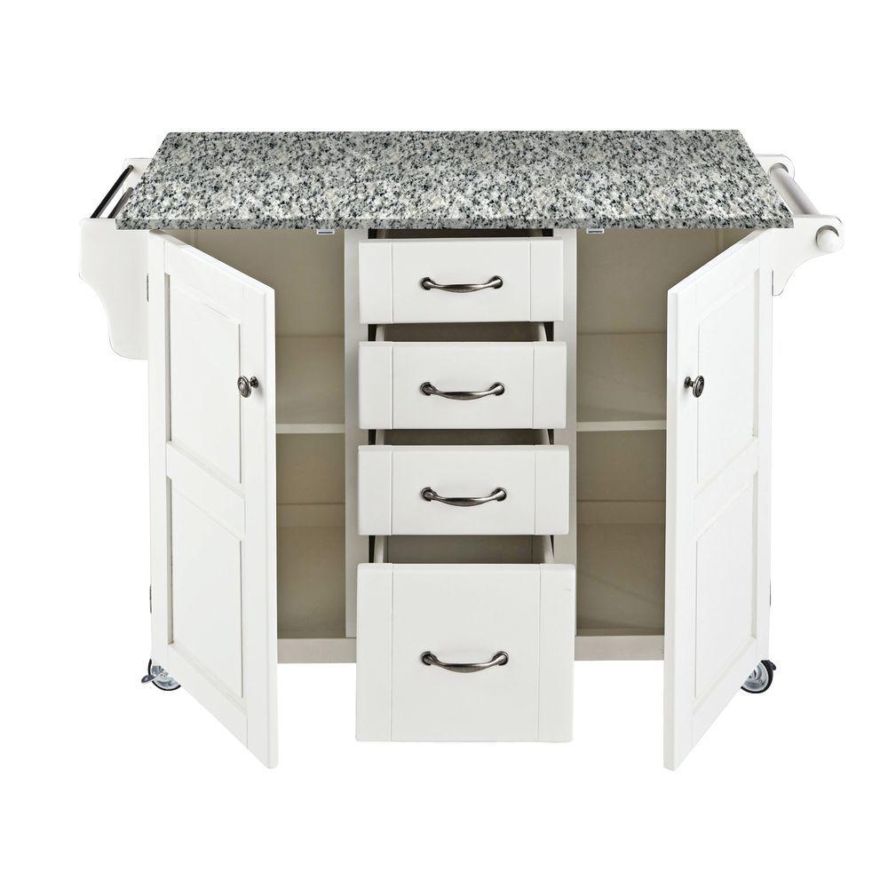 Large Portable Kitchen Island, White Base w/ Speckled Garnite Top