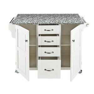 Portable Kitchen Island White Base w Speckled