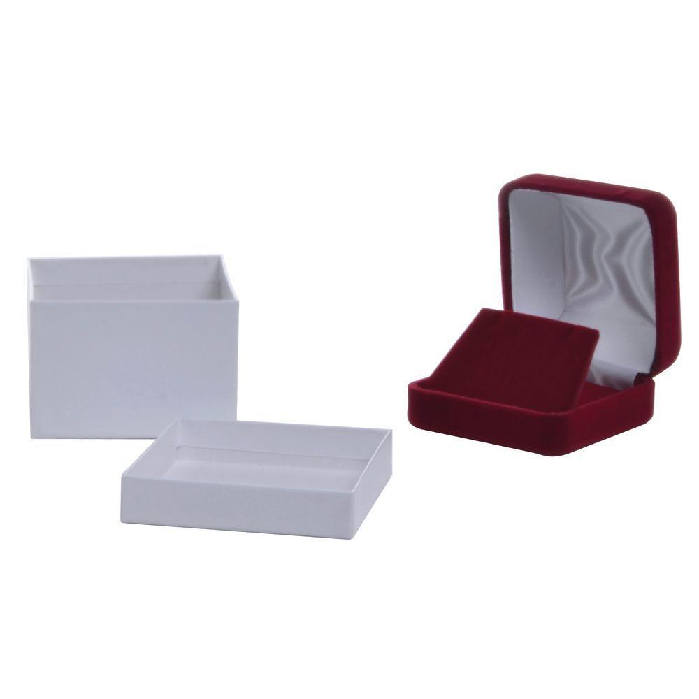 2 1/2 x 2 1/2 x 1 3/4 Dior Red Velvet Jewelry Box