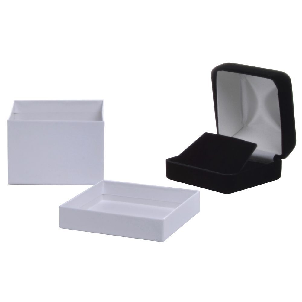 2 1/2 x 2 1/2 x 1 3/4 Black Velvet Earring Box