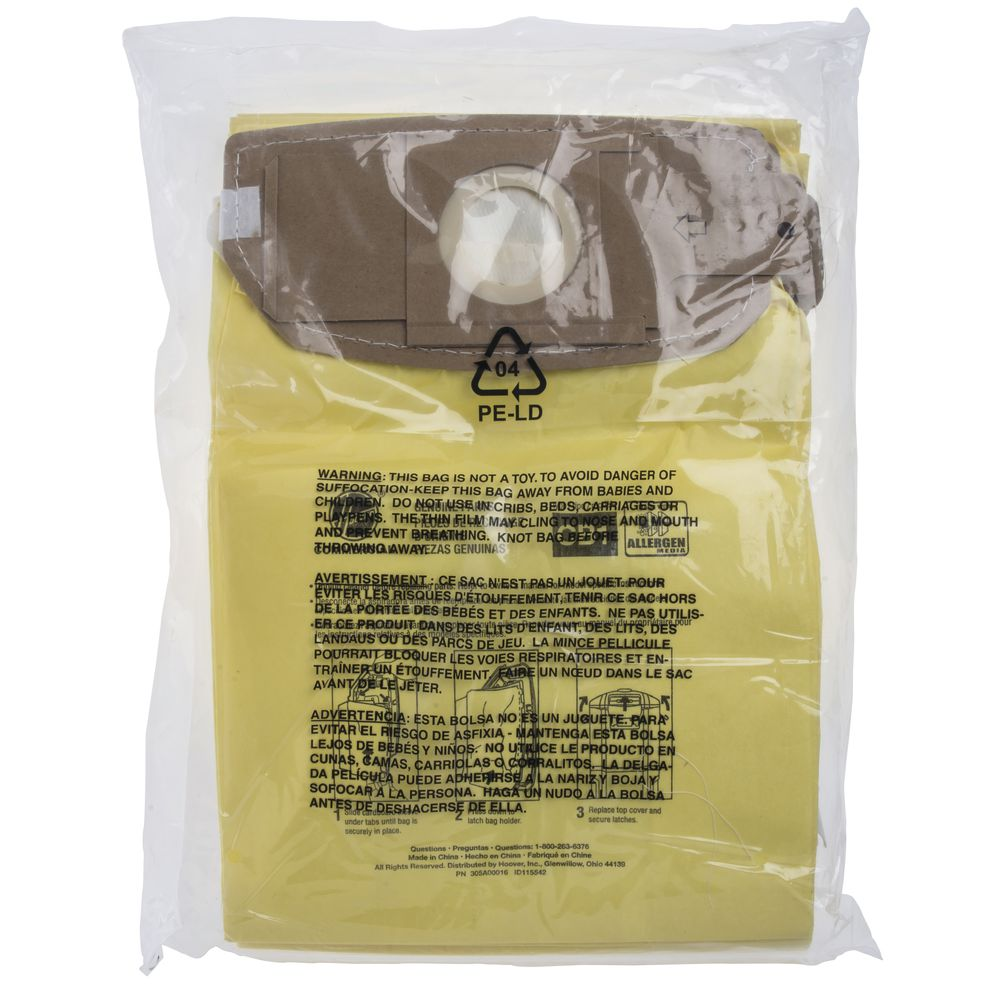 Hoover® Allergen Bags Pack of 10 for 6Q Backpack Vacuums