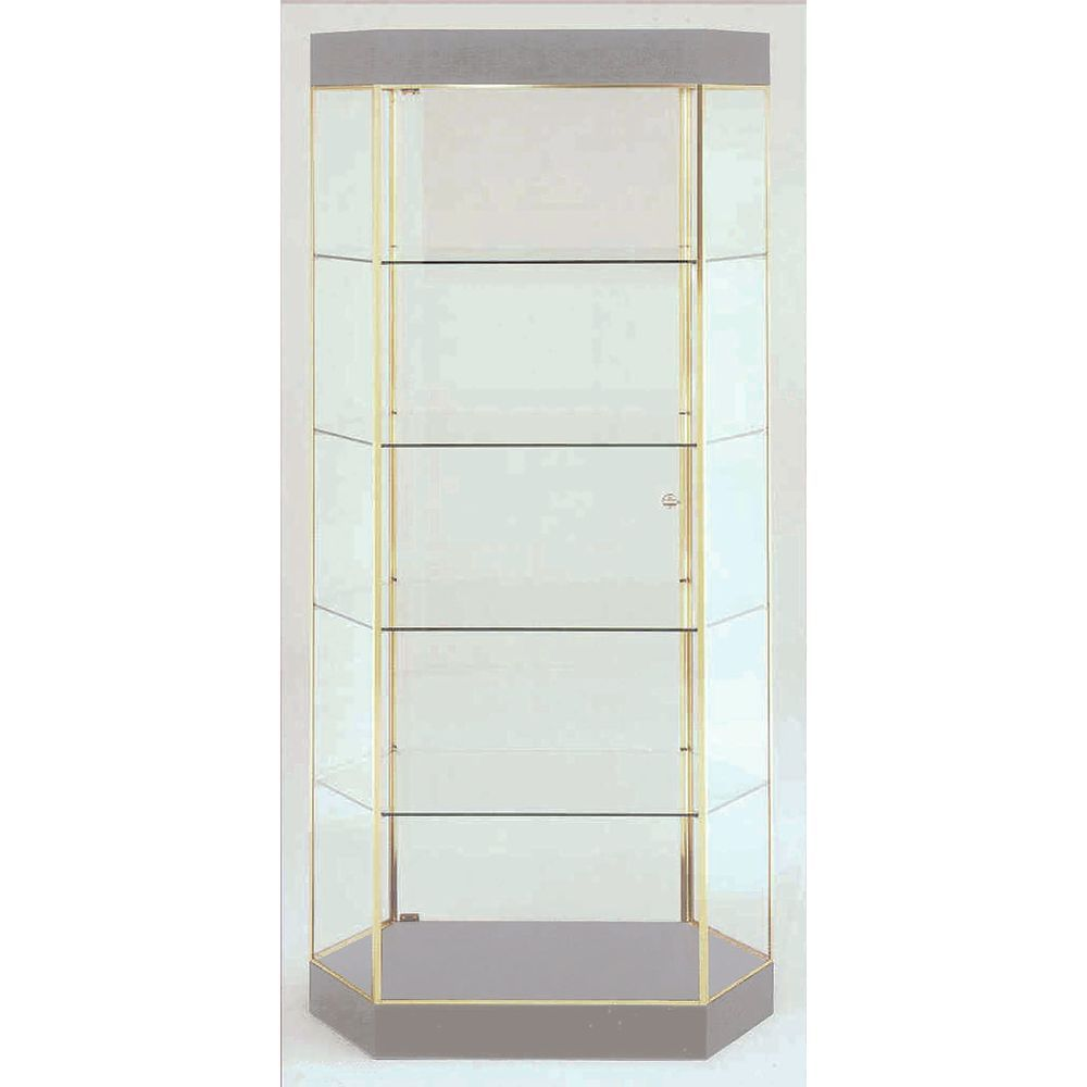 Polished Gold Retail Glass Display Cabinets