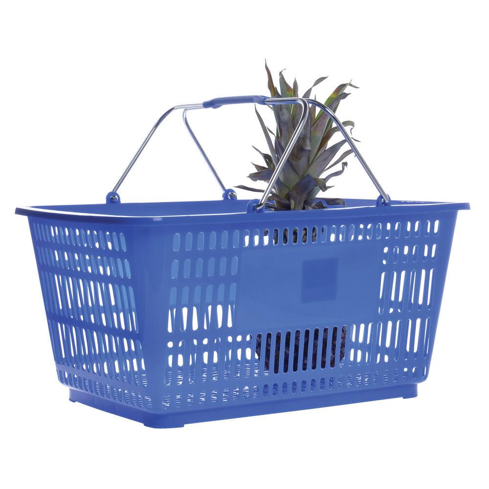 Hubert® Plastic Hand Basket 20 x 14 x 9 3/8 Blue