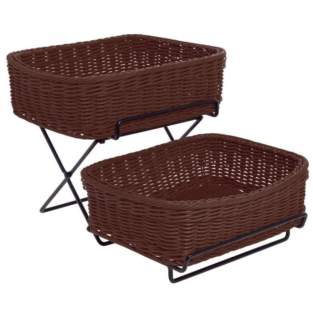 2-Tier Basket Stand Black with Brown Baskets