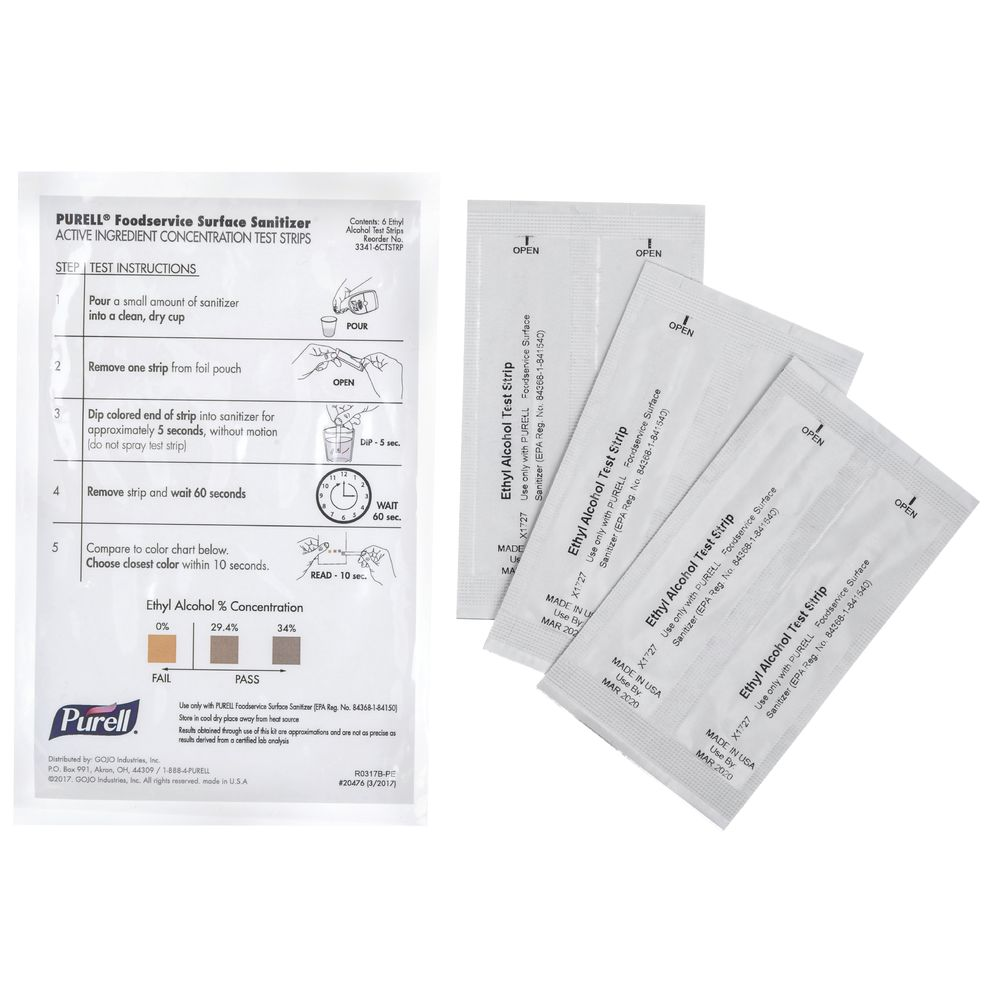 STRIPS, TEST, FOR PURELL SURFACE SANITIZER