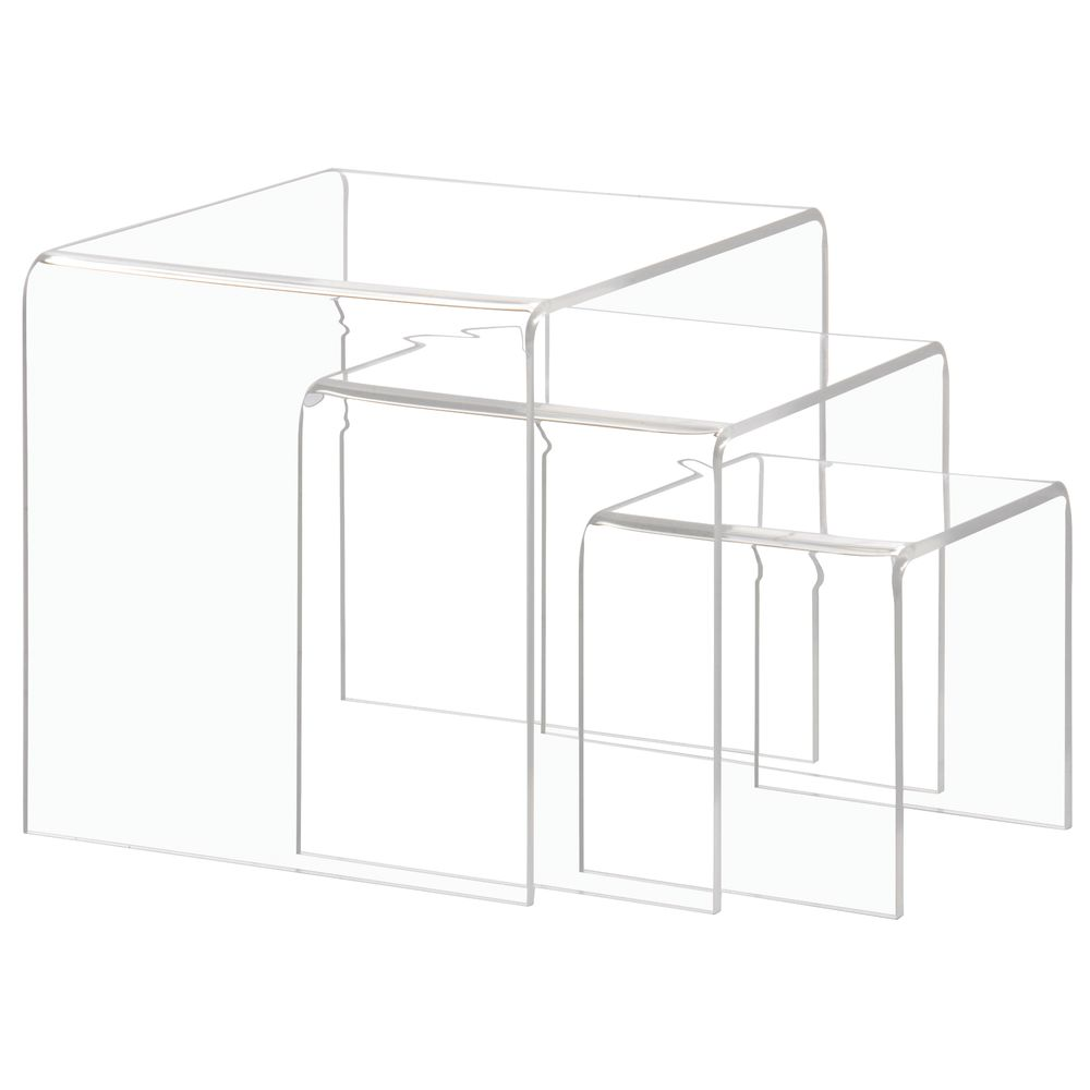 Acrylic Display Stands of Three Differing Heights