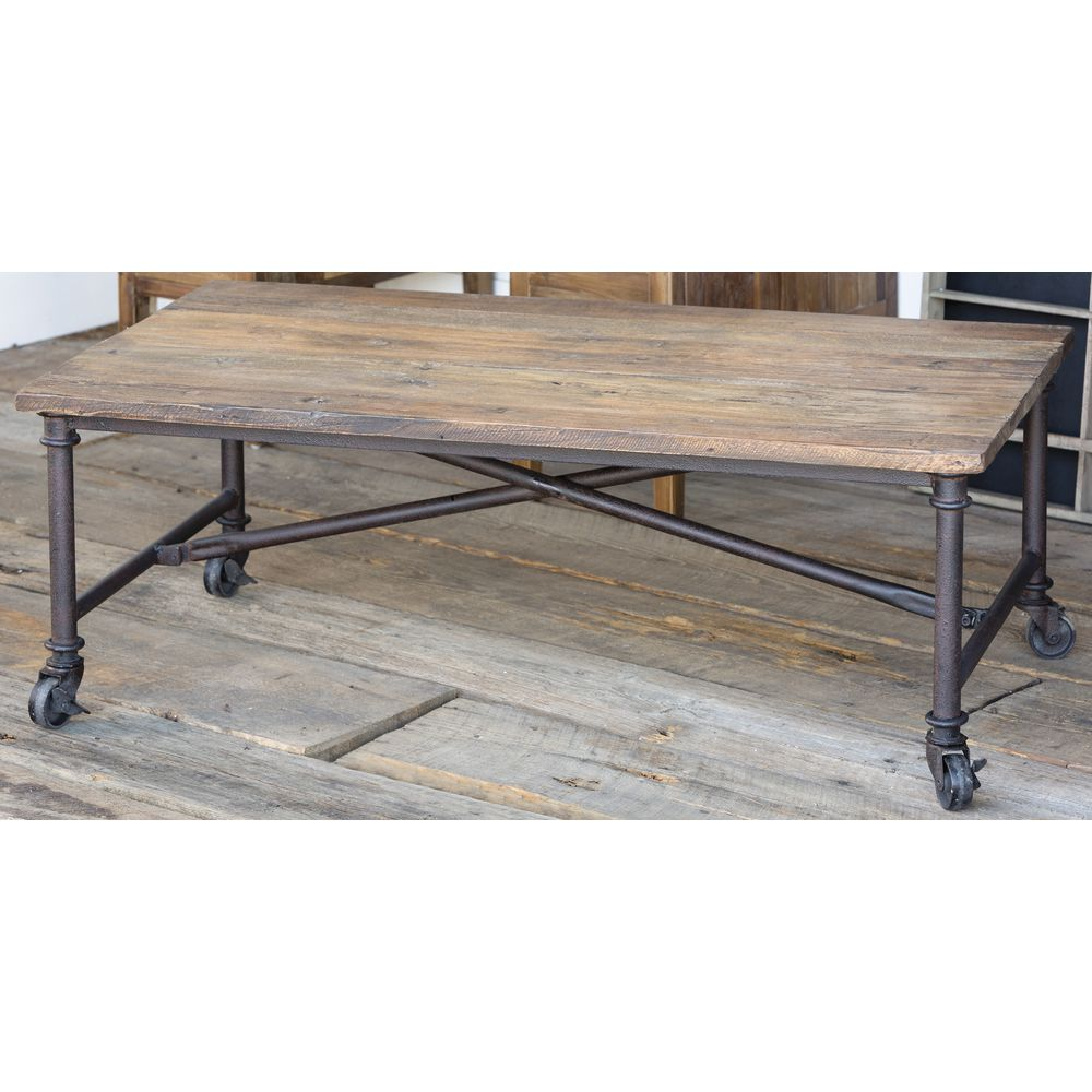 TABLE, WOOD/IRON, W/CASTERS, 48.5x26.5x18