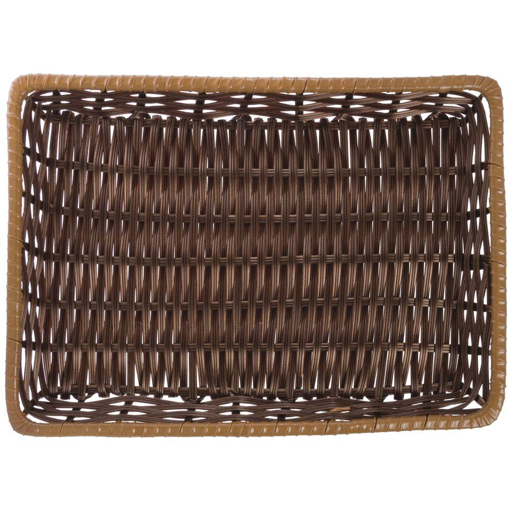 "Tri-Cord Washable Wicker Display Basket in Brown with Carmel Trim 13""L x 18""W x 2""H"