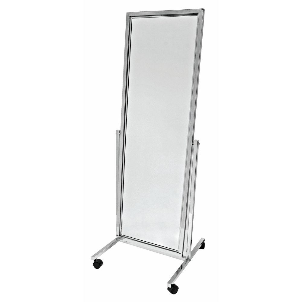 chrome adjustable rolling floor mirror -