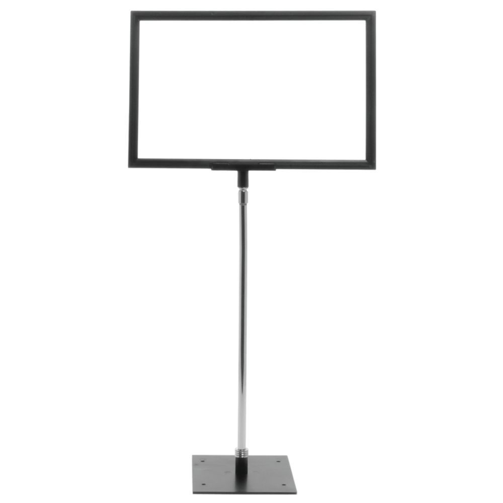 """Black Plastic Sign Stand 12-24"""" Telescopic Stem For 7""""H x 11""""W Inserts"""