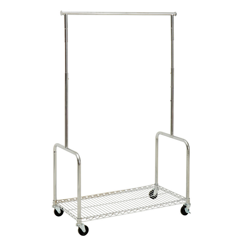 Rolling Clothing Rack with Shelf