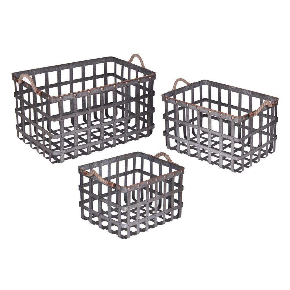Galvanized Woven Metal Baskets, Set 3